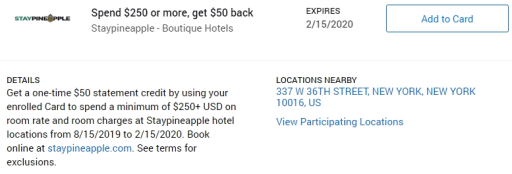 Staypineapple Hotels Amex Offer