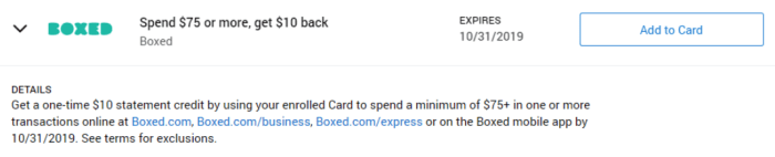 Boxed Amex Offer