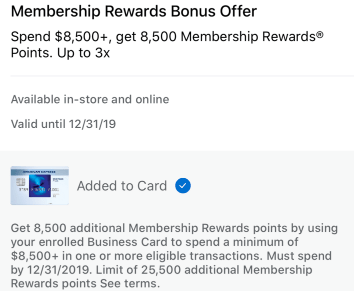American Express Spending Offers