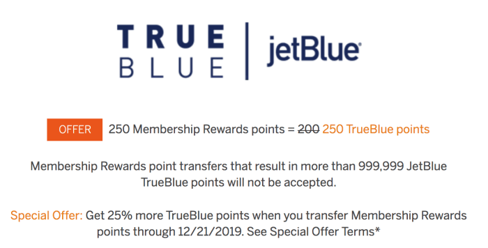 amex jetblue transfer bonus