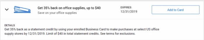 Office Supplies Amex Offer