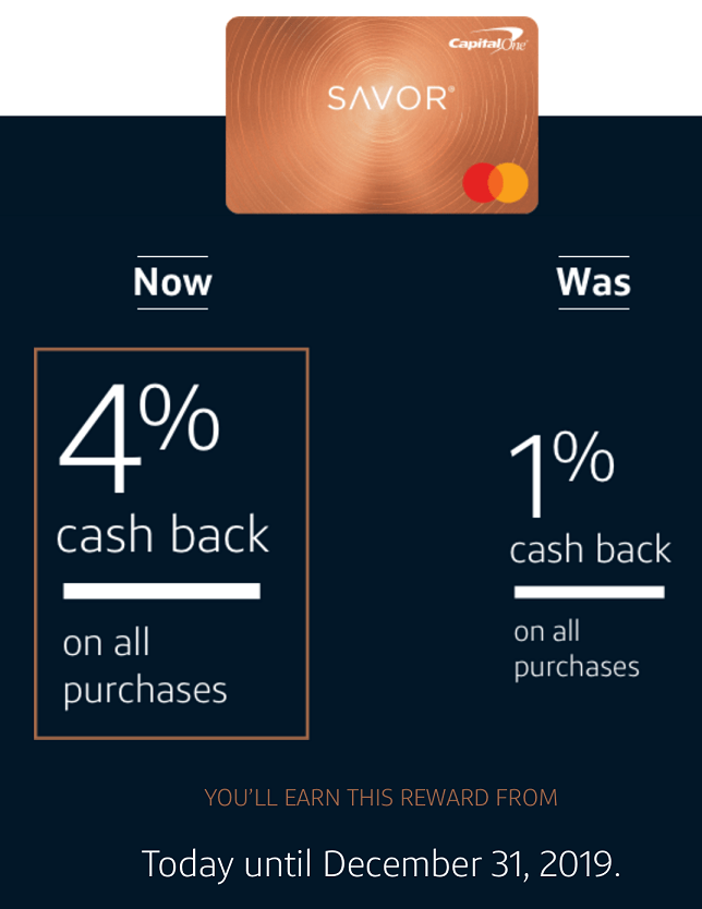 capital one savor 4% cashback