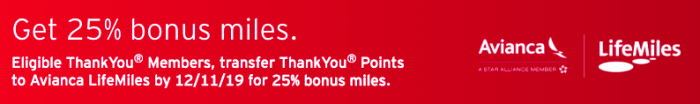 ThankYou Points to LifeMiles with 25% Bonus