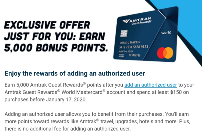 amtrak card authorized user bonus