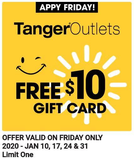Tanger Outlets free gift card