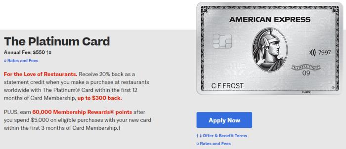 Amex Platinum Card 60K plus $300