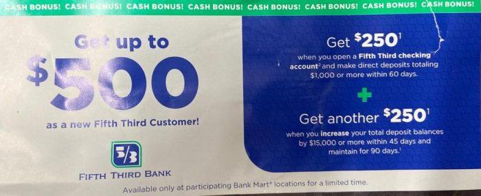 Fifth Third Bank $500 bonus