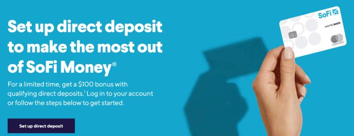 SoFi Money $100 direct deposit bonus