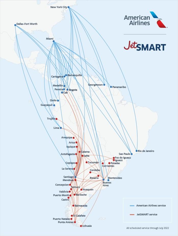 American Airlines JetSMART Partnership map