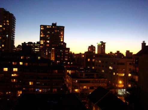 Night falls on downtown Vancouver