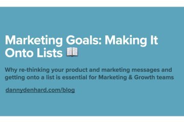 Making It Onto Lists - Marketing Goals