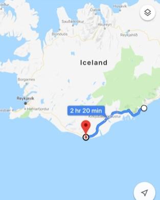 Route from Vatnajokull to Vik