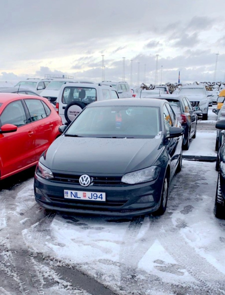 Our VW Polo that we hired in Iceland. Looking good in the snow!