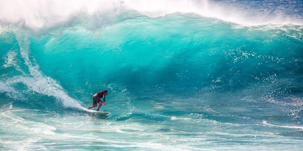 Man surfing on big wave