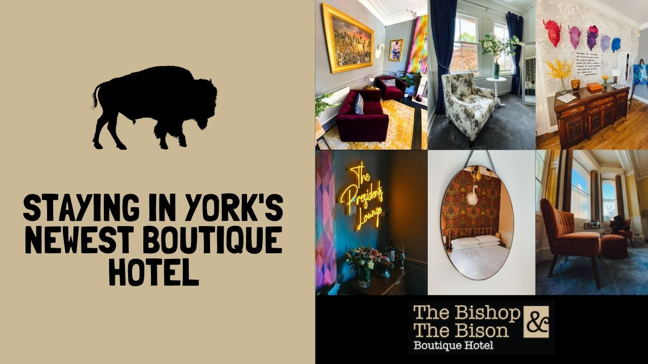 Blog header with various images of the bishop and bison boutique hotel. pictures of the various hotel rooms.