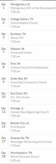 Celebrate Christmas Tour Dates in 2016
