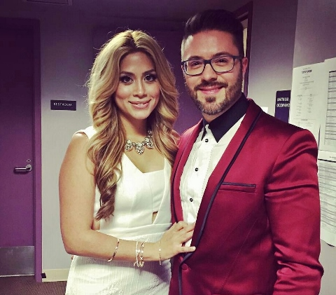 Leyicet and Danny Gokey before the 2016 Latin AMAs