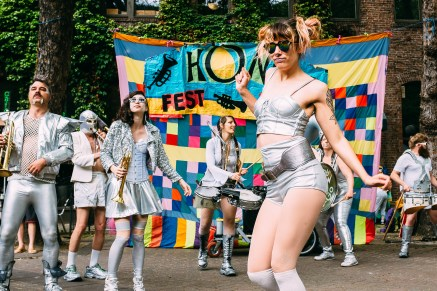 LoveBomb Go-Go performs at Honk Fest West in Occidental Square. Seattle, WA. June 03, 2017.
