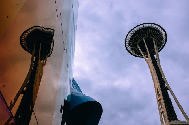 Space Needle and MoPop. Seattle, WA. June 9, 2017.