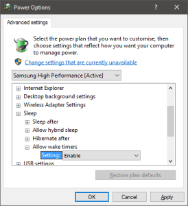Advanced power settings