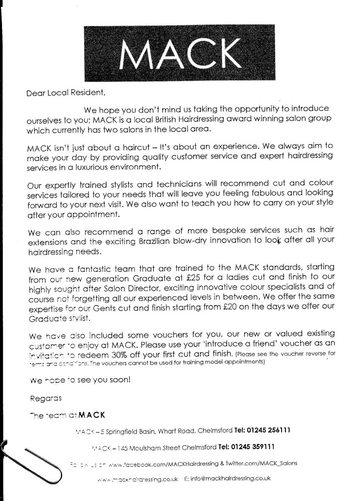 A letter from Mack Hair in Chelmsford - Taken from DannyUK.com