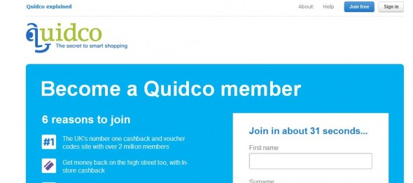 Signing up to Quidco in 31 seconds