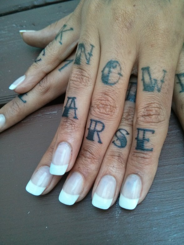 "Tattoos that read ""Now arse"""
