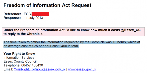 Freedom of Information request - Essex County Council