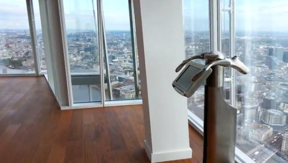 Visiting The Shard - The first viewing platform, showing the telescope.