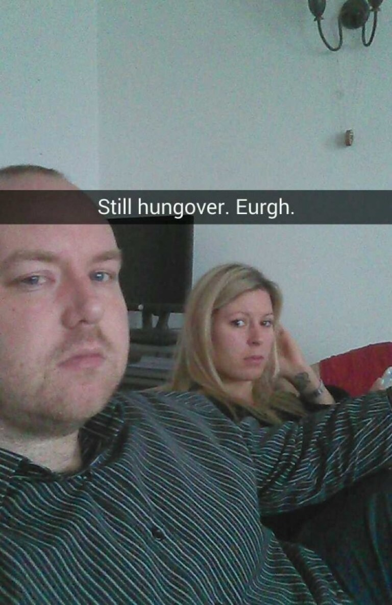 Dan and Tasha hungover - Taken from an article titled Snapchat pictures by DannyUK.com