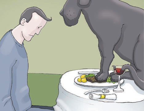 Black dog liked to ruin my appetite... (taken from the WHO Black Dog depression video). From an article by DannyUK.com