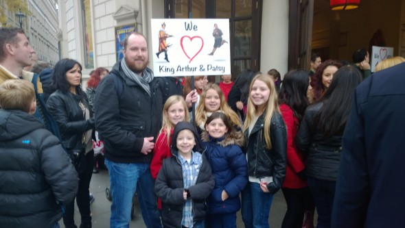 The kids and I outside the theatre before seeing Spamalot