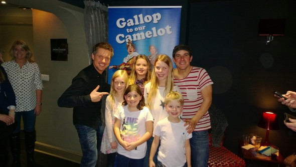 The kids with Dick and Dom at Spamalot