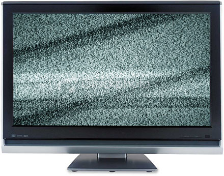 A flatscreen tv showing static.