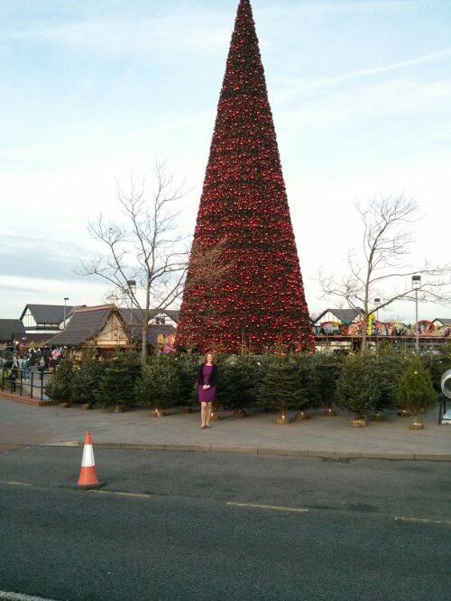 The UK's largest Christmas tree, with the girlfriend posing in front of it.