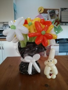 Balloon Baboon – Wrapped Bouquet and Message in a bottle