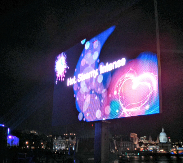 Part of the Thameside display by Durex Embrace - Taken from the article Taking a girl up the Oxo tower by DannyUK.com