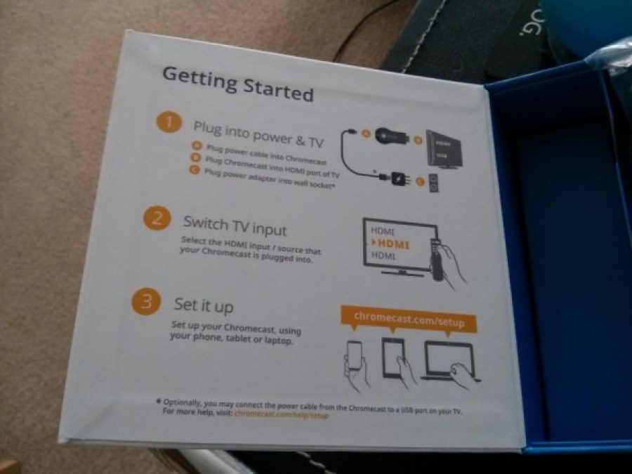 Google Chromecast box - instructions - Taken from the Google Chromecast review by DannyUK.com
