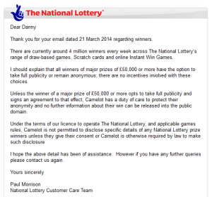National Lottery – Why do Lottery winners go public