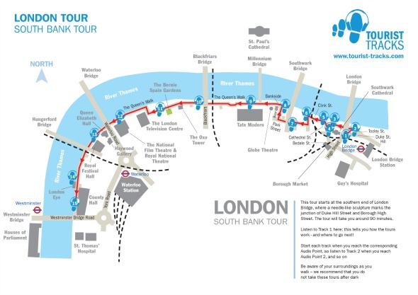 Southbank Map - Tourist-tracks - What to do in London