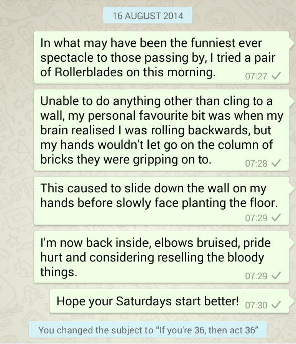 Mid-life crisis Rollerblading