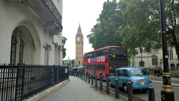 London - Big Ben, Red Bus and taxi - all part of sightseeing