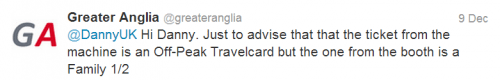 Greater Anglia response regarding Travelcard prices