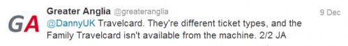 Greater Anglia response regarding Travelcard prices
