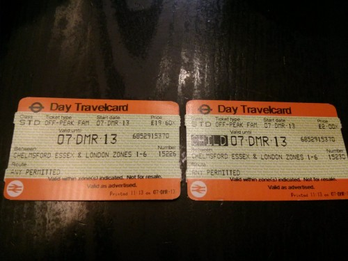 The cost of an adult Travelcard and a child Travelcard from Chelmsford, Essex to London