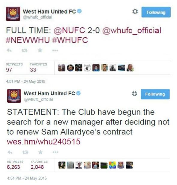 West Ham sack Allardyce - 3 minutes after losing
