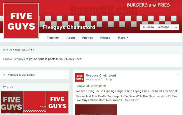 Five Guys Chelmsford Facebook profile