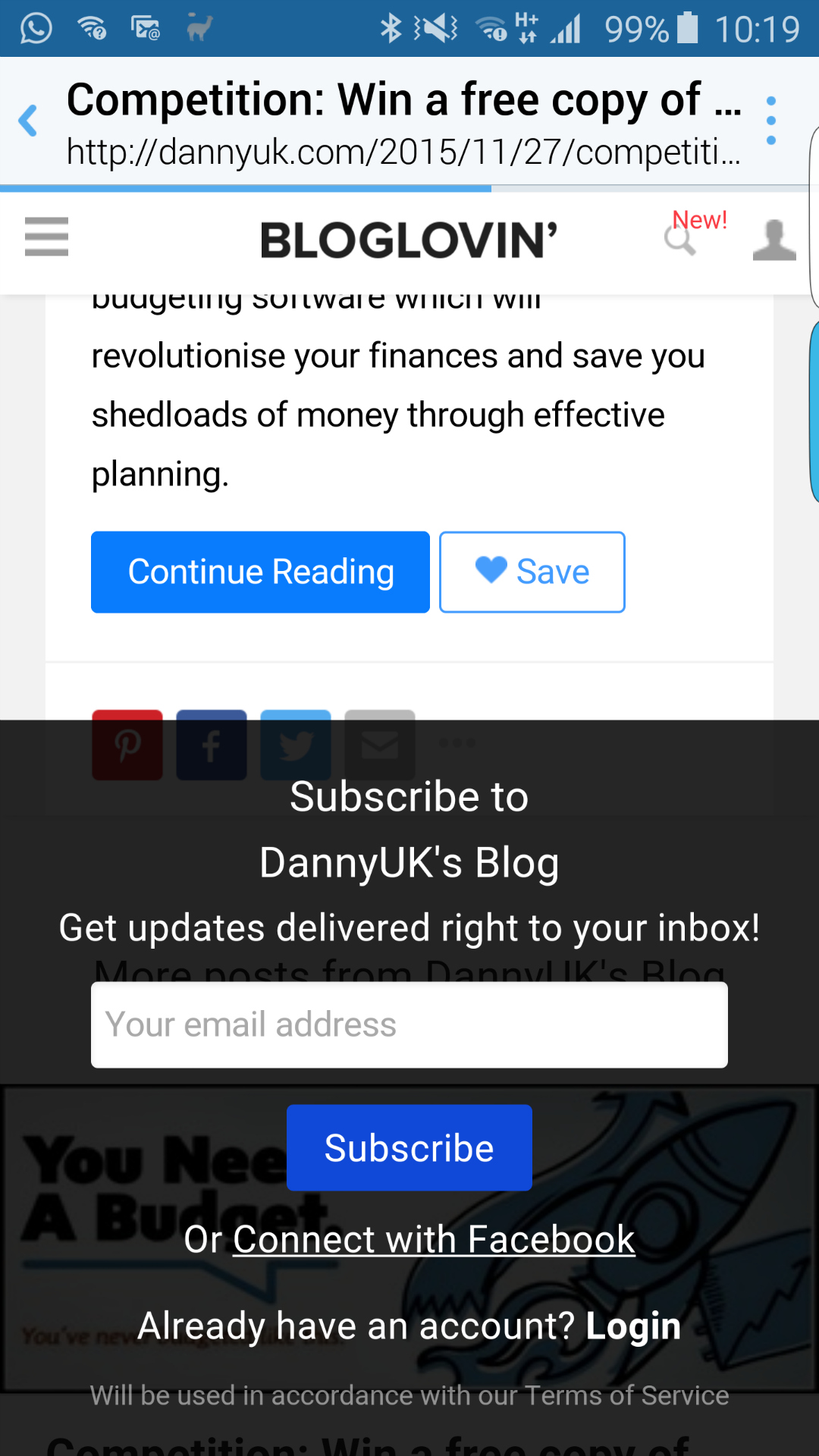 How to remove the Bloglovin pop-up on Twitter - The pop-up itself - Taken from a DannyUK.com article.