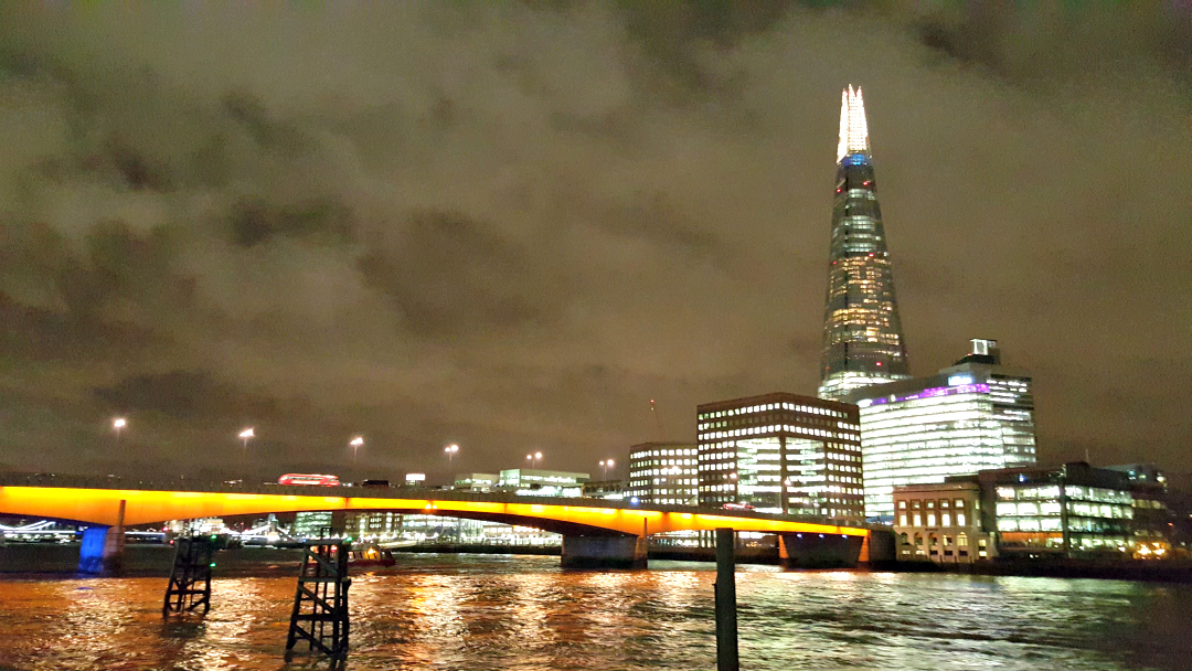 The Shard and London Bridge at night, captured on a trip to London
