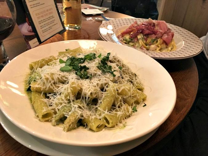 Tasha's rigatoni con zucchini e pesto with my Tagliatelle asparagus and pancetta carbonara in the background